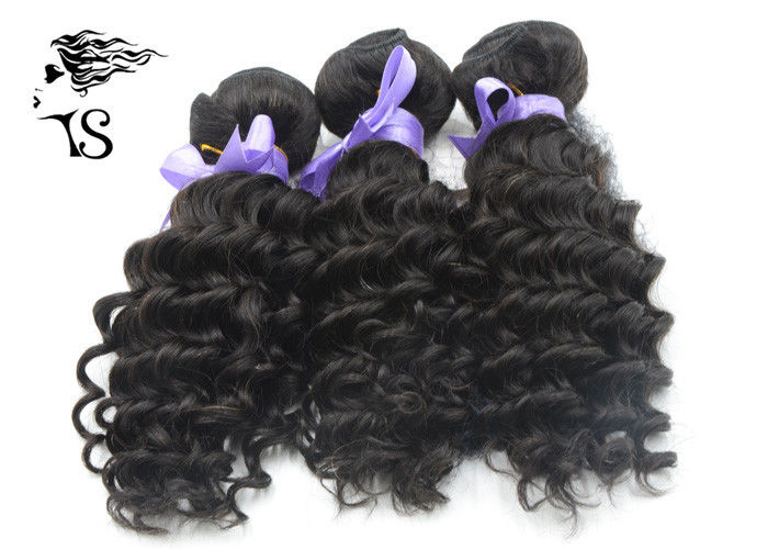Grade 8A Brazilian Weft Hair Extensions , Deep Wave Curly Human Hair Extensions