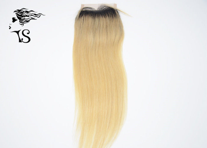 613 Blonde Lace Front Closure Piece With Dark Roots Long Silky Straight 14 Inch